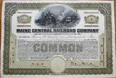 Maine Central Railroad Co. 1916 Stock Certificate - Brown