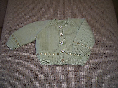 New Hand Knitted Baby Cardigan Light Olive  3 - 6  Months App