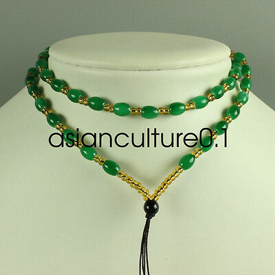 Chinese green jade necklace, pendant preparation rope