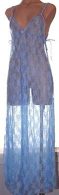 Fredrick's Of Hollywood one size lingerie long blue lace nighty & panties