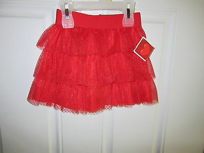 Toddler Girls Red Glitter Tiered Tutu Skirt Sz 3T Heart 100% Polyester NWT
