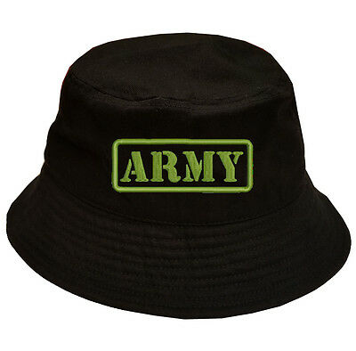 43c1912e 100% Cotton Military Black Bucket Cap Hat U.S. ARMY TEXT IN GREEN ARMY