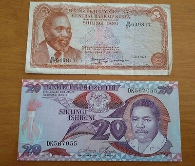 Tanzania Africa 20 Shilingi 5 shilingi lot Kenya 1978 foreign currency lot