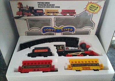 Vintage Train Set FORTY NINER Battery Operated Puffing Smoke headlight chug