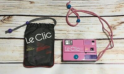 Vintage Pink Le Clic Disc Camera with Carry Bag 1980s Retro
