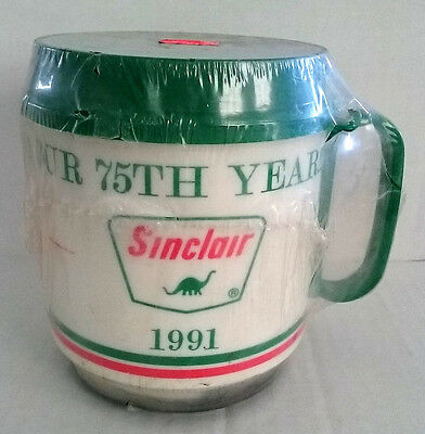 SINCLAIR GAS OIL THERMO MUG 75th Anniversary 1991 12oz Hot/ColdTravel Whirley