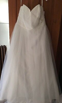 NWT Davids Bridal Gown/Ivory/Soft White Sweetheart Tulle Wedding Dress-Size 20W!