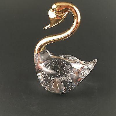 Vintage Murano Art Glass Swan With Gold Metal Neck