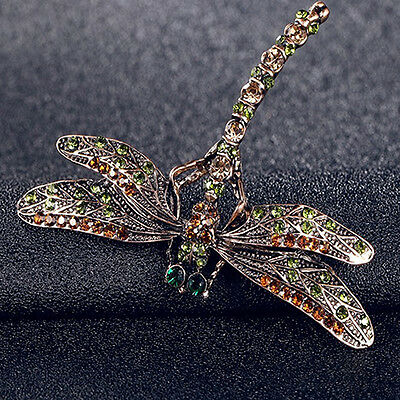 Fashion Jewelry Womens Vintage Noble Dragonfly Crystal Scarf Pin Brooches Frugal