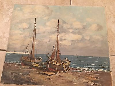 Oil On Canvas Painting Signed Unframed