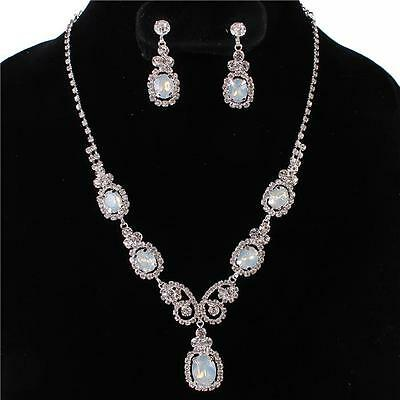 Formal Pageant Wedding Clear Crystal White Opal Ovals Fashion Necklace Set