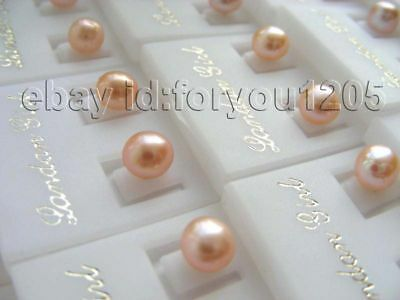 Wholesale 50pairs Natural 6mm Pink Pearl Earrings 925ss