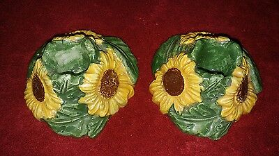 Vintage Signed Capodimonte belfiore Porcelain Italy Sunflower Candle Holders