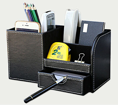 Black Leather Office Home Desktop Organizer Desk Pen Pencil Holder Storage Tray