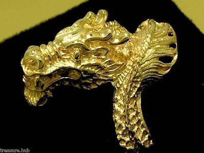 SR01- GORGEOUS Genuine 9K 9ct SOLID Gold DETAILED Fierce DRAGON Ring size P
