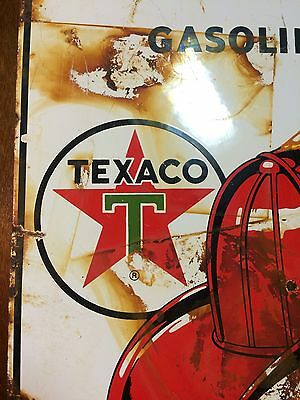 """Vintage Porcelain TEXACO Fire Chief Gasoline Sign 11x16"""" Ande Rooney 1986 Oil"""