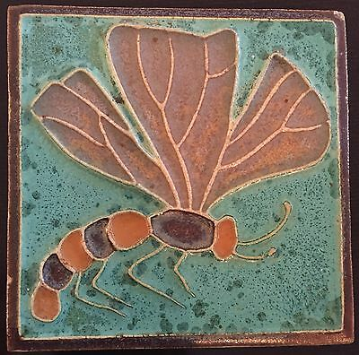 Rare Antique Dragonfly Art Nouveau Jugendstil Cloisonne Tile