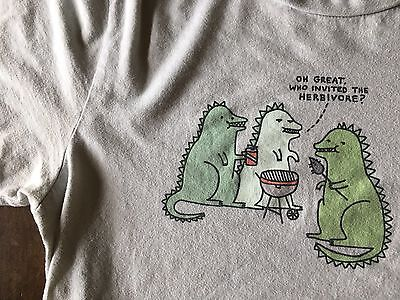 Classic Threadless Graphic T-Shirt Who Invited The Herbivore? Men's M Tee GUC