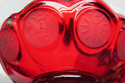 VINTAGE Deep Ruby red Fostoria Coin Nappy/ Candy dish 1887