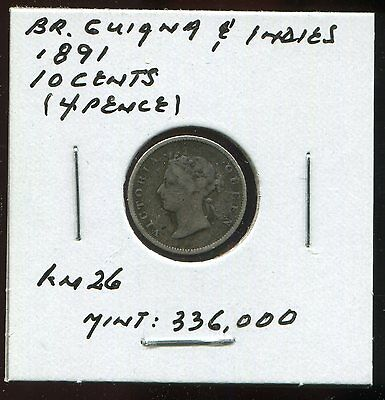 **  British Guiana & West Indies 1891, 4 Pence ...scarce Low Minted 336 K.**