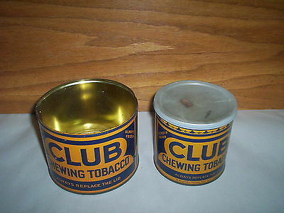 2 Vintage Club Chewing Imperial Tobacco Tin 2 Cans Lot : Large & Small Tin