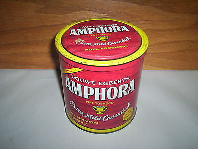 Vintage Douwe Egberts Amphora Cavendish Pipe Tobacco Tin Can 12oz Holland (Red)