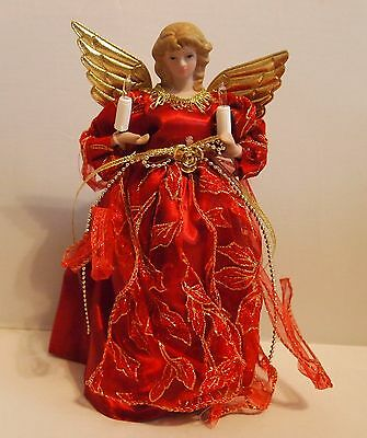 """10"""" Lighted Red Gold Angel Tree Topper Porcelain Head 10 Clear Lights"""
