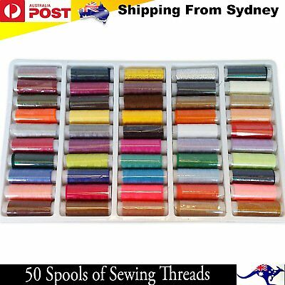 50 Multi Colours Sewing Threads Roll Set Assorted DIY Spools Polyester Reels Box