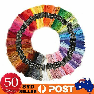 50 Colourful Cross Stitch Embroidery Egyptian Cotton Thread Floss Bulk DIY