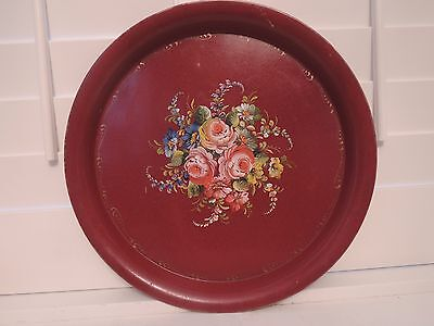 Vintage Large French Handpainted Red Tole Tray Pink Roses Toleware