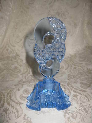 Lovely Antique Art Deco Era Cut Glass Blue Czech Czechoslovakia Perfume Bottle