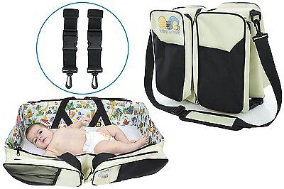 The Original Lullypop Baby 3 in 1 Cream Color Diaper Bag - Travel Bassinet - Bed