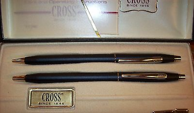 Vintage Cross Classic Black Pen and Pencil Set No 2501 with Box Made in USA