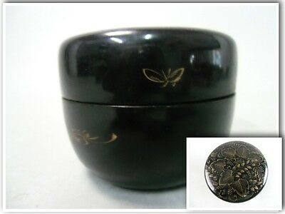 NM22 Japanese Tea Caddy Lacquerware Wood Hand painted Makie Vtg Natsume