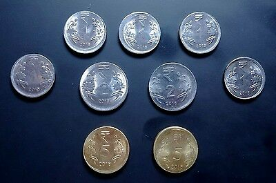 LOT OF 9 OFF CENTER ERROR COINS FROM INDIA - IN 1, 2 and 5 RUPEES