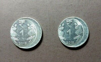India - 2 X 1 Re Error Coins With Similar Off Center In The Coins
