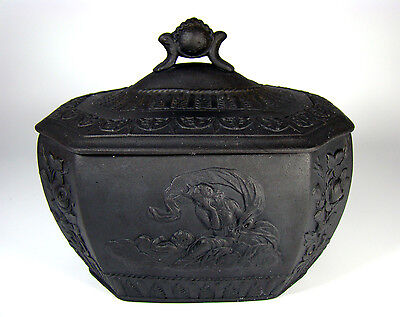 Antique Black Basalt Ware Sugar Bowl Jasperware Staffordshire England c 1790