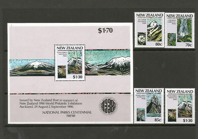 Mint 1987 New Zealand Nz National Parks Centennial Mini Sheet + Stamp Set Muh