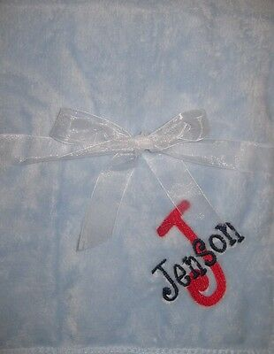 Personalized Baby Stroller Soft Blanket Name Embroidered Fleece New Gift Boy
