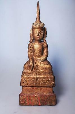 Antique Burmese Shan Style Buddha Wooden Gilded gold Statue 19th