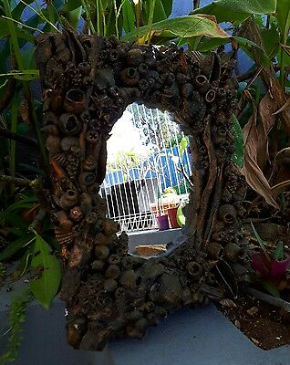 Amazing Handmade  Folk Art Mirror. Gumnuts, Seashells,Sticks,Banksia Nut. 50cm