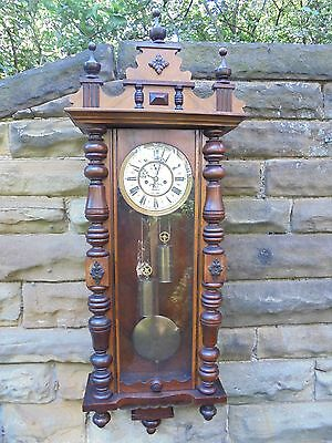 Antique Walnut Cased Double Weight Vienna Wall Clock Fattorini Bradford