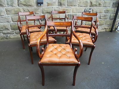 Quality Set 6 Regency Style Mahogany & Leather Dining Chairs