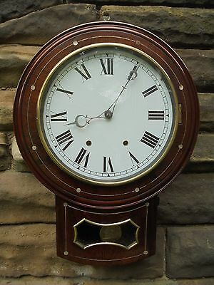 Antique Inlaid Rosewood Drop Dial Wall Clock