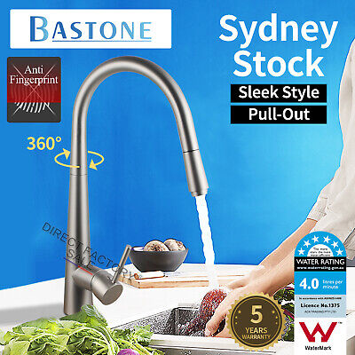 LEAD FREE Slimline Brushed Kitchen Sink Pull Out Mixer Tap Laundry Faucet WELS