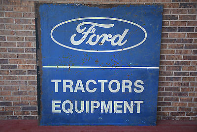 """Vintage 1950s Ford Tractors Equipment 58""""x58"""" Metal Dealership Sign Farm Gas Oil"""
