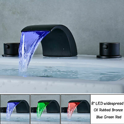 LED Waterfall Spout Bathroom Basin Faucet Widespread Sink Tub Mixer Brush Nickel