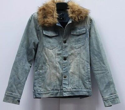 Sherpa Lined Denim Coat With Removable Fur Collar Size XL