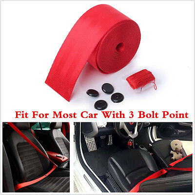 3-Point Safety Retractable Seat Belt Universal For Car Van Racing Seat Belt Red