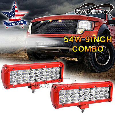 2X RED 54W 9''Combo Spot Flood LED Work Light Driving Offroad 4WD SUV ATV Truck